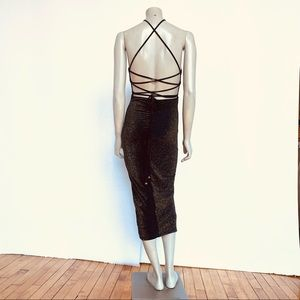 HERE COLLECTION Black And Gold Party Dress